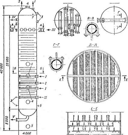 Экстракционная   колонна   с   двухслойными перфорированными   тарелками