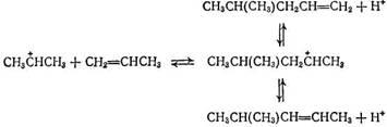 При взаимодействии со второй молекулой пропилена он образует димерный карбкатион