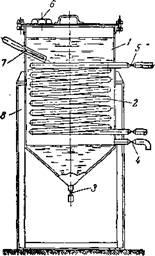 Схема типового отстойника c паровым подогревом