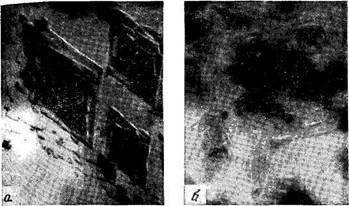 Электронно-микроскопическне   снимки   полиэтилена   (а)   и   полиметилена (б)