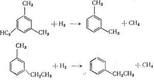 ароматические углеводороды C8 могут образоваться в результате гидродеалкилирования триметилбензолов и  метилэтилбензолов