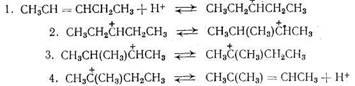 Перегруппировка олефина происходит на кислотных центрах носителя по   карбонийионному   механизму
